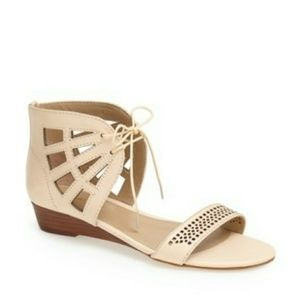 Sole Society Karin Stacked Wedge Sandal in Buff